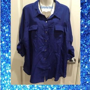 Calvin Klein Royal Blue Button Down Shirt/Top ~ 3X